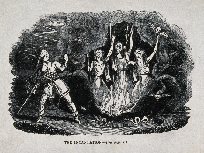 V0025894 Macbeth meets the three witches; scene from Shakespeare's 'M Credit: Wellcome Library, London. Wellcome Images images@wellcome.ac.uk http://wellcomeimages.org Macbeth meets the three witches; scene from Shakespeare's 'Macbeth'. Wood engraving, 19th century. after: William ShakespearePublished: - Copyrighted work available under Creative Commons Attribution only licence CC BY 4.0 http://creativecommons.org/licenses/by/4.0/